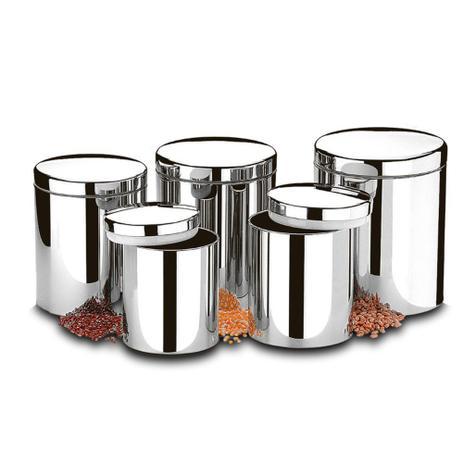 Conjunto de 5pçs Potes Para Mantimentos Inox