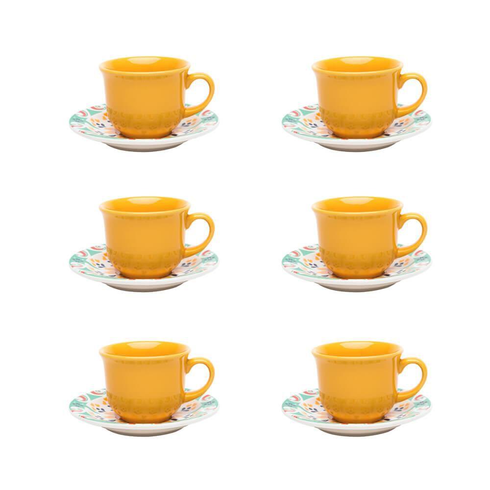 Conjunto de Chá 12pçs Floreal Solar