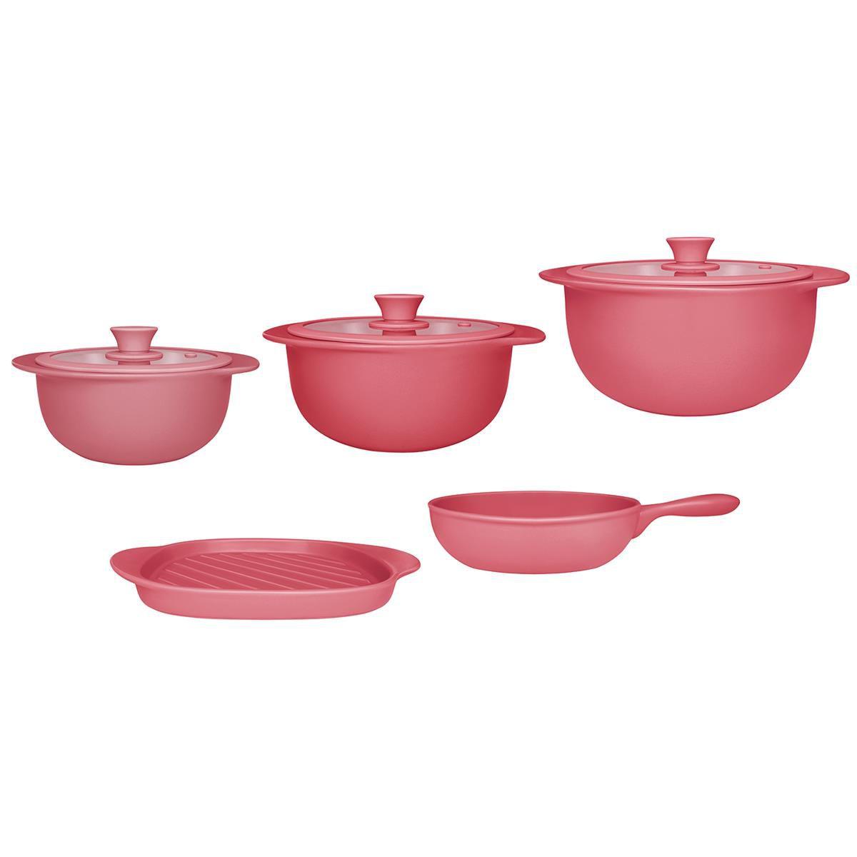 Conjunto de Panelas de Cerâmica 5pçs Linea Rosé