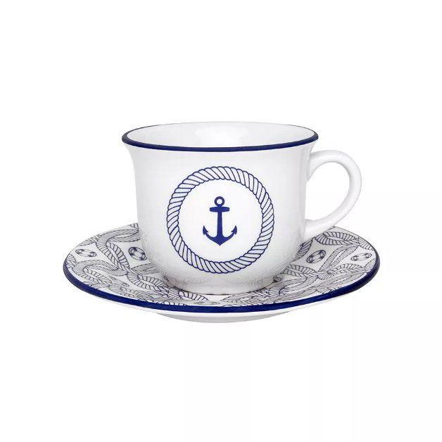 Conjunto de Xícaras de Chá com Pires 12 pçs Floreal Náutico