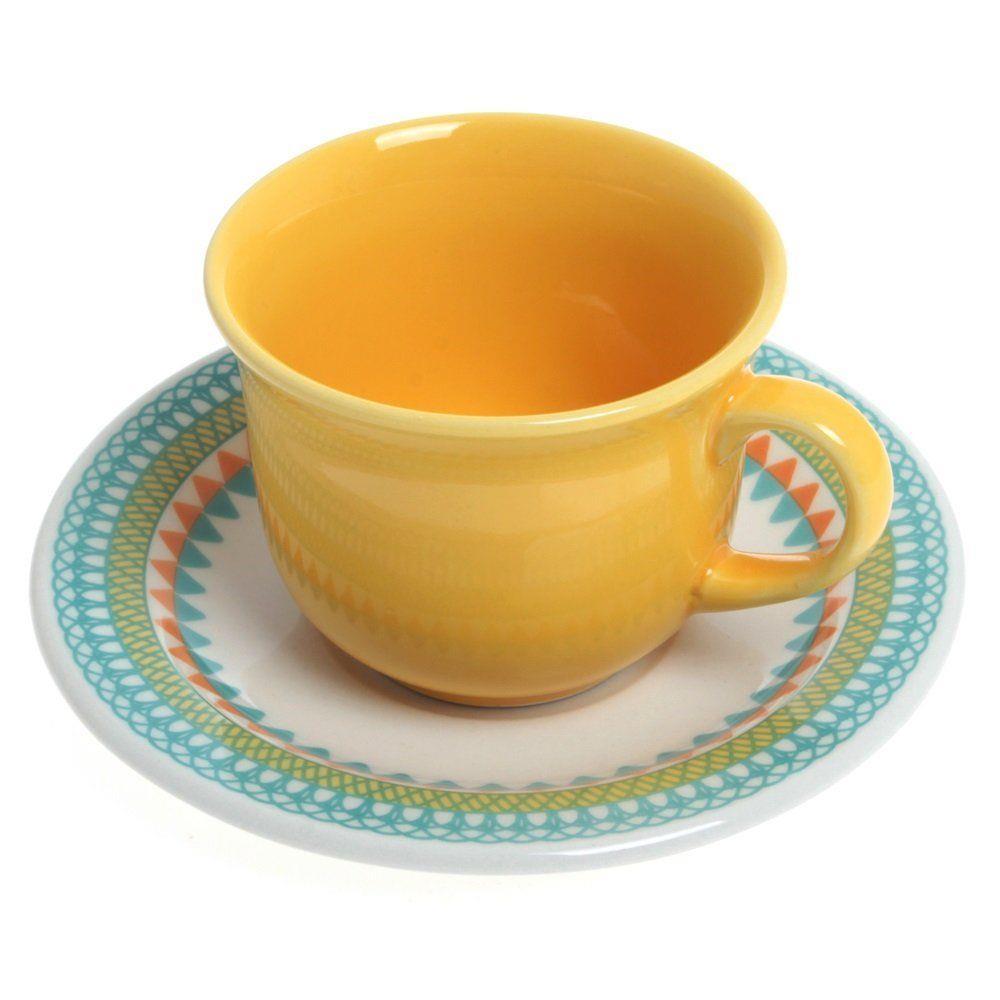 Conjunto de Xícaras de Chá com Pires 12pçs Floreal Bilro