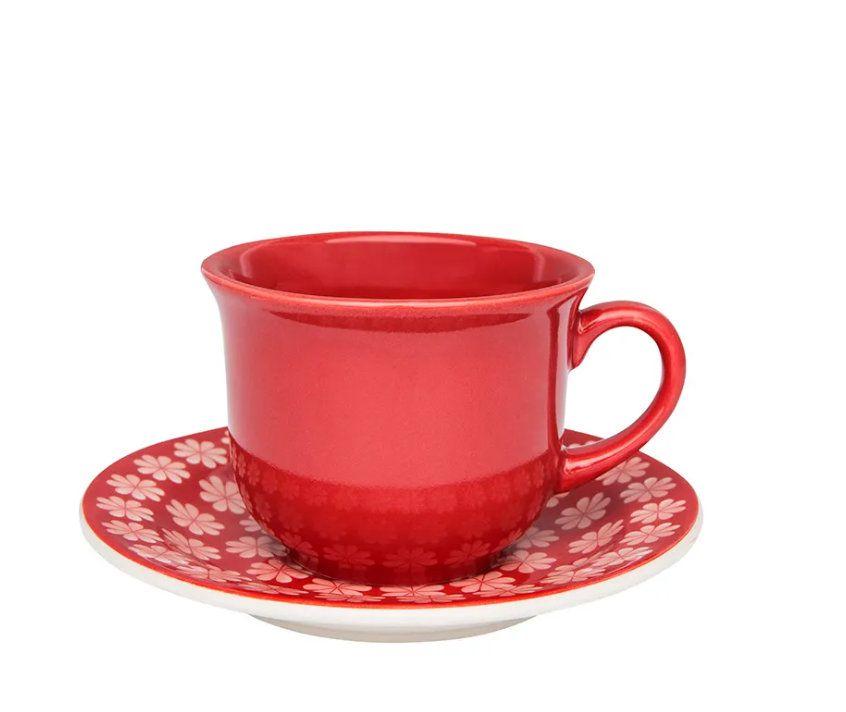 Conjunto de Xícaras de Chá com Pires 12pçs Floreal Renda