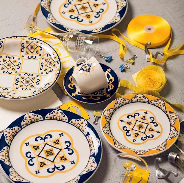 Conjunto de Xícaras de Chá com Pires 12pçs Floreal São Luís