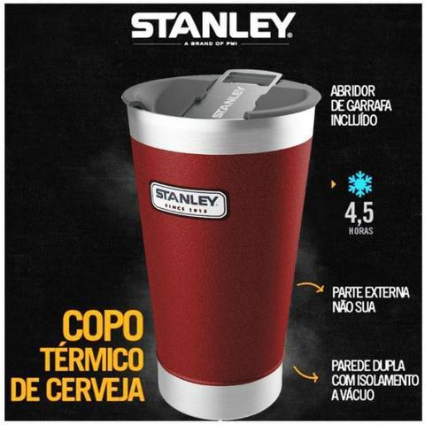 Copo Térmico de Cerveja com Tampa e Abridor Vermelho Stanley  473ml