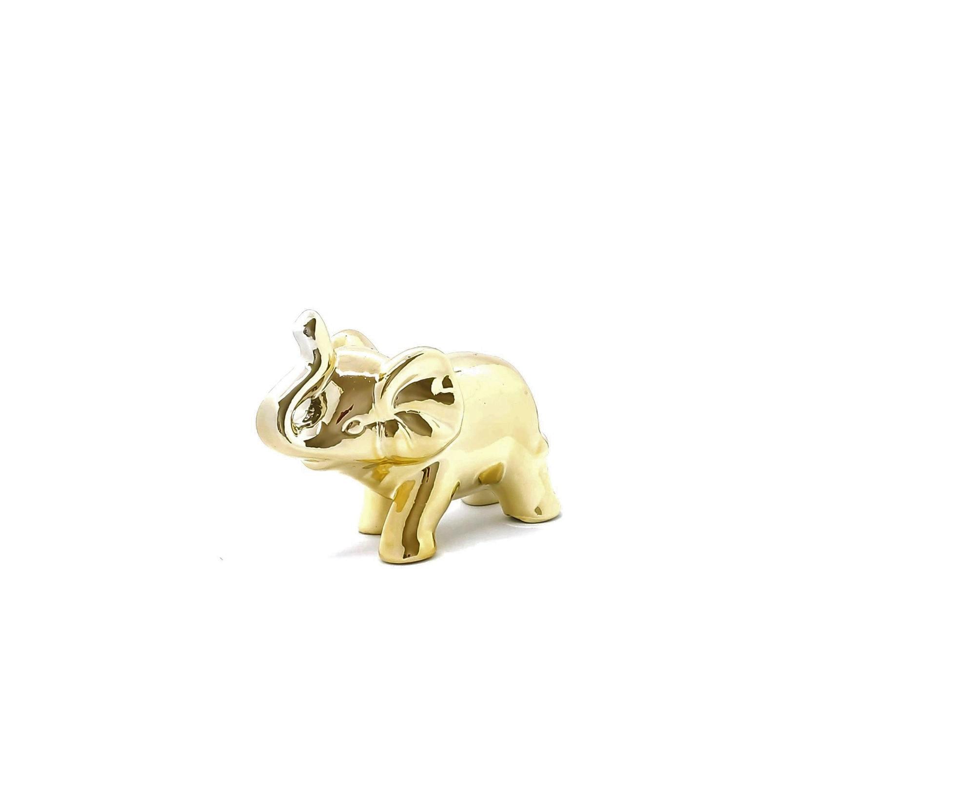 Elefante  Decorativo de Porcelana Dourado