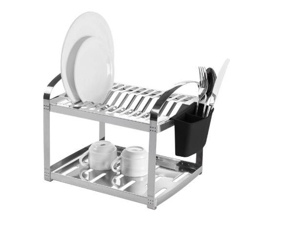 Escorredor Aço Inox 12 Pratos e Porta Talheres de Plástico 41cm Suprema