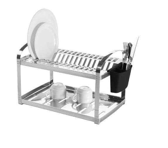 Escorredor Aço Inox 16 Pratos e Porta Talheres de Plástico 50,5cm Suprema