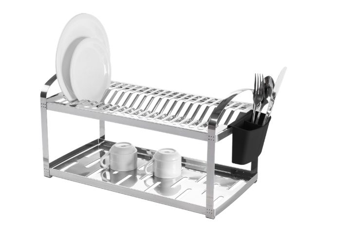 Escorredor Aço Inox 20 Pratos e Porta Talheres de Plástico 60cm Suprema