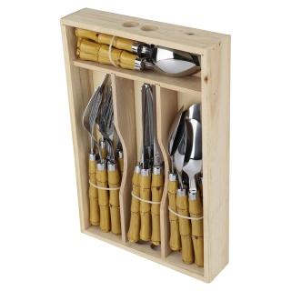 Faqueiro Bambu 24pçs com Caixa de Madeira