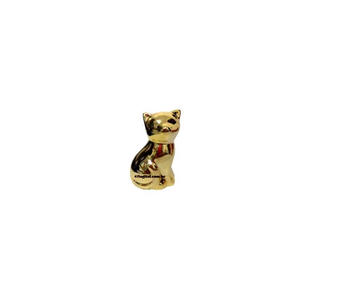 Gato Decorativo de Porcelana Dourado