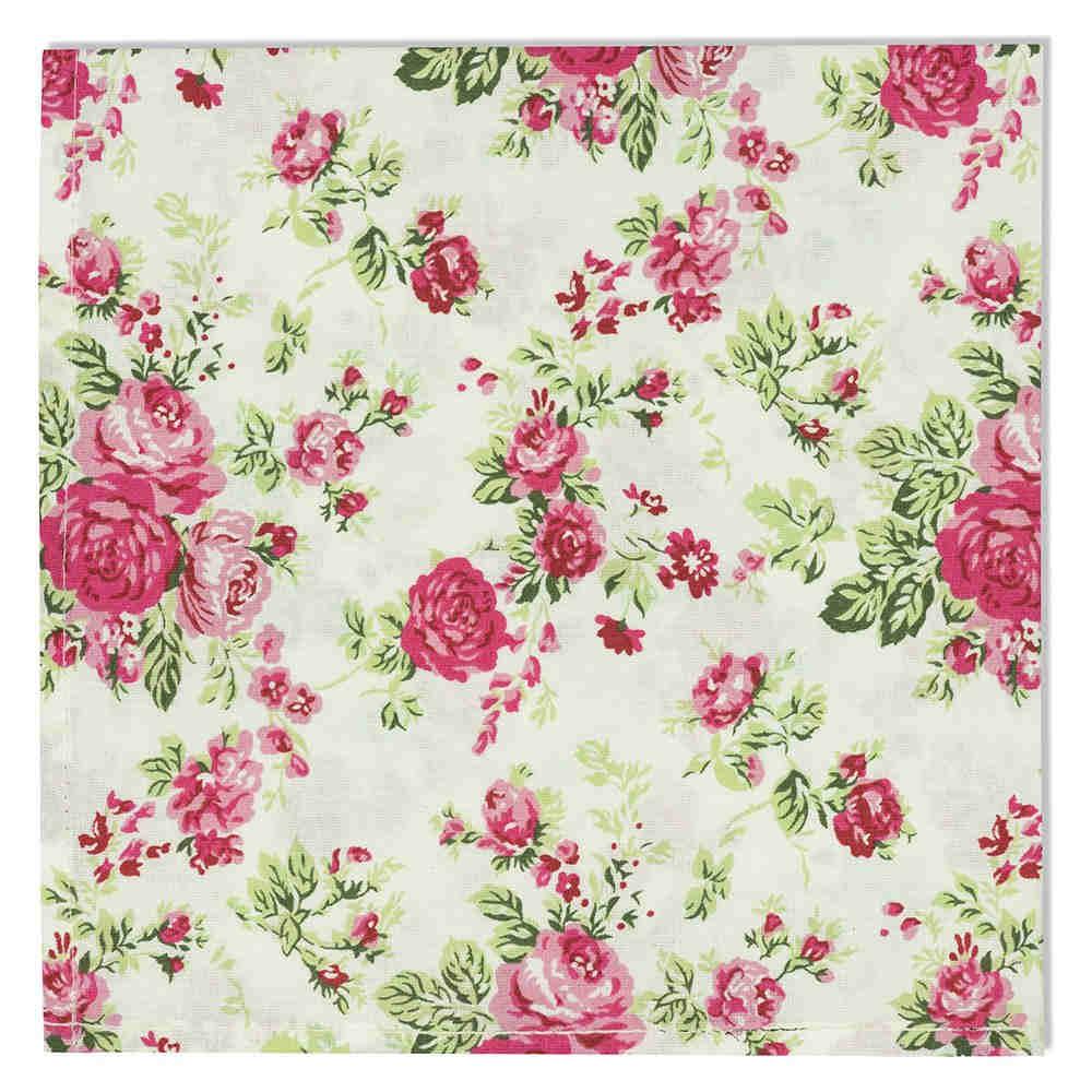 Guardanapo Tecido 45x45 cm 4pçs Home Rosas