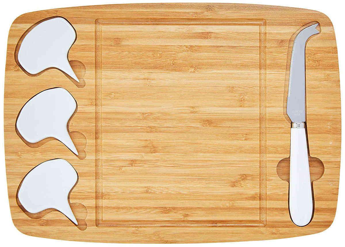 Jogo 5 peças Tábua de Bambu com Acessórios para Queijo