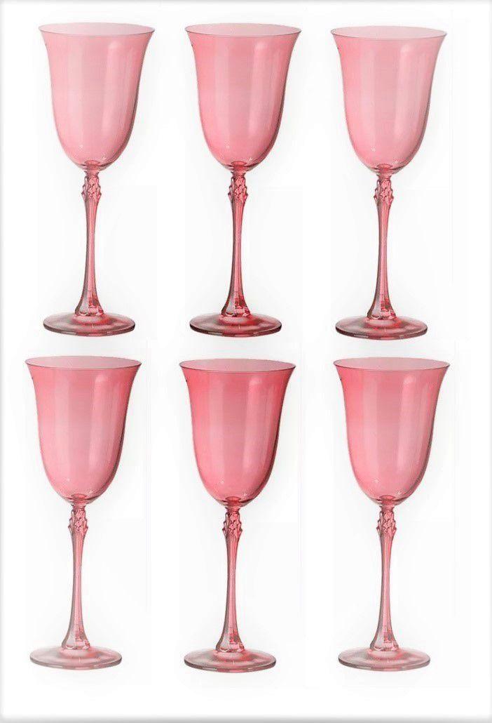 Jogo de 06 Taças de Cristal Água 360ml Rosa