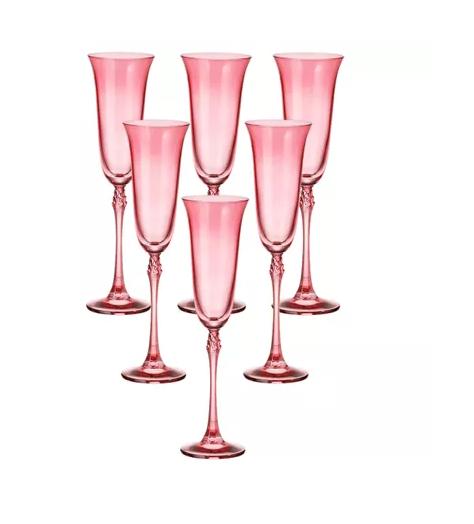 Jogo de 06 Taças de Cristal Champagne 200ml Rosa