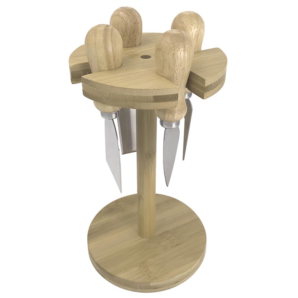 Jogo de 4 Facas de Queijo com Suporte Bambu