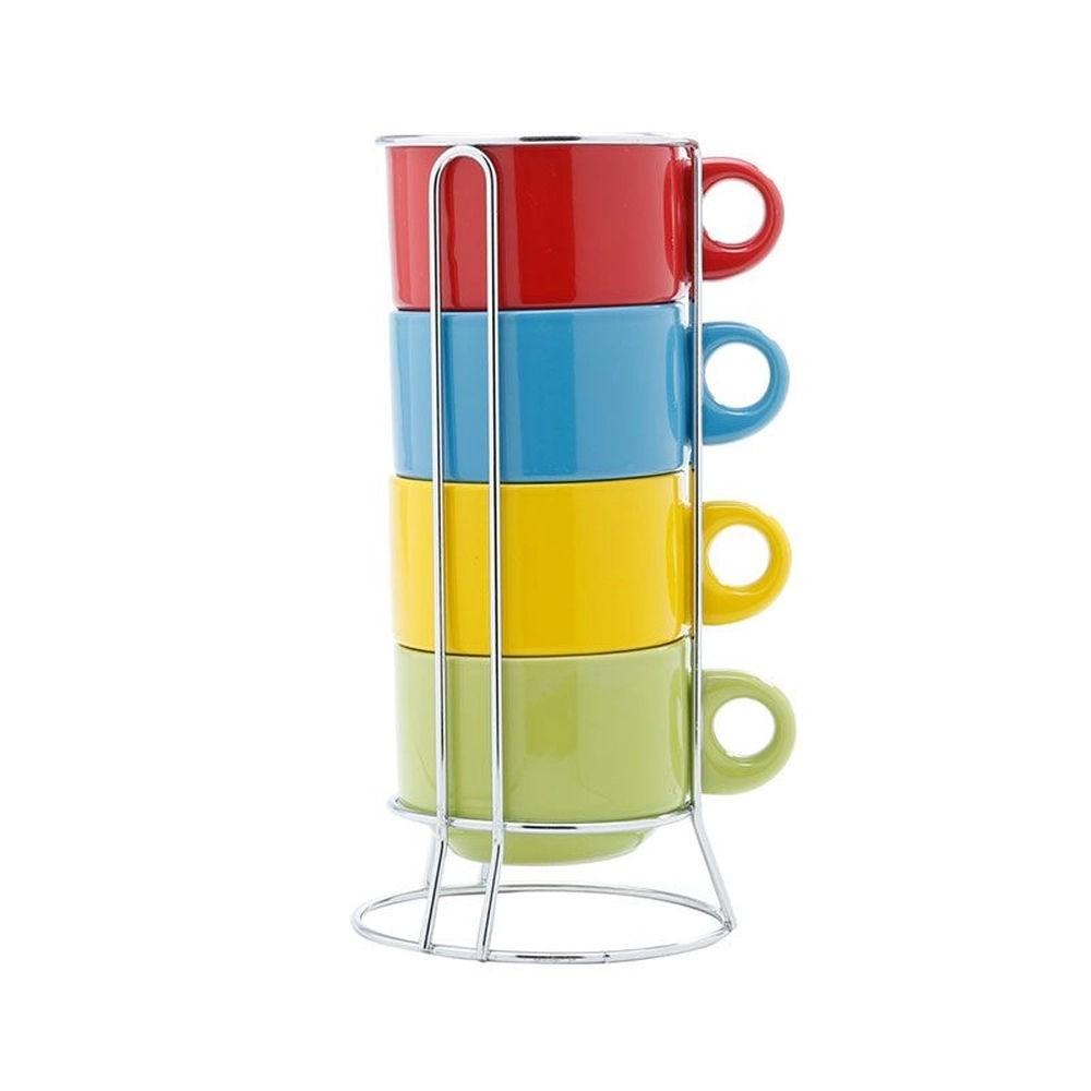 Jogo de 4 Xícaras Empilháveis de Chá Coloridas