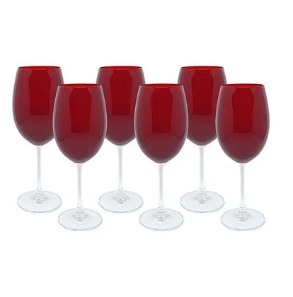 Jogo de 6 Taças 580ml Bordeaux Vermelha