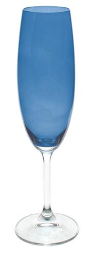 Jogo de 6 Taças de Champanhe 220ml Azul