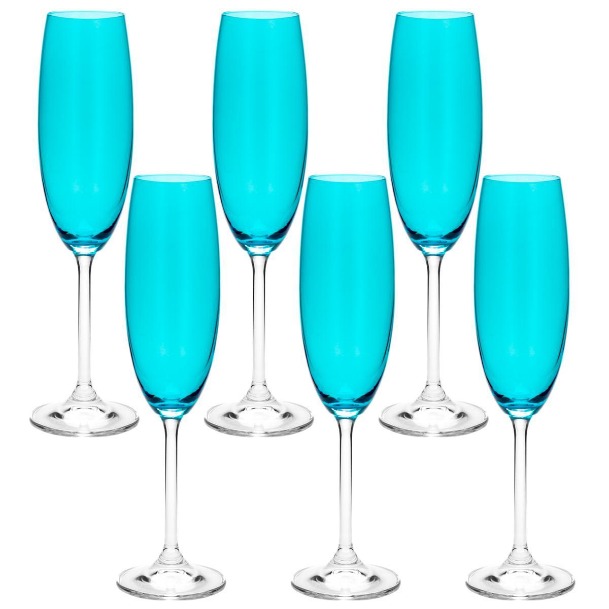Jogo de 6 Taças de Champanhe 220ml Azul Turquesa