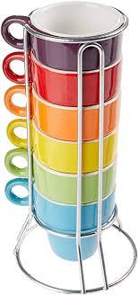 Jogo de 6 Xícaras Empilháveis de Café Coloridas