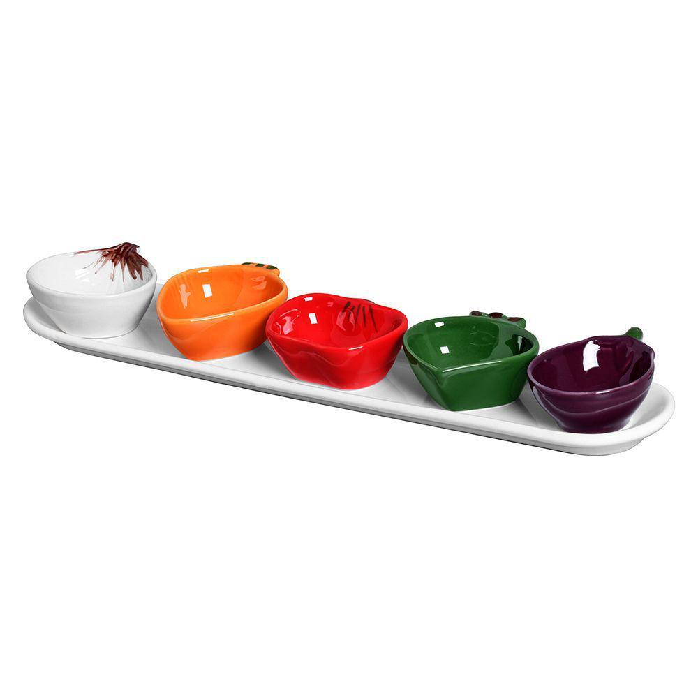 Jogo de 6pçs Bowl Legumes com Travessa Cerâmica