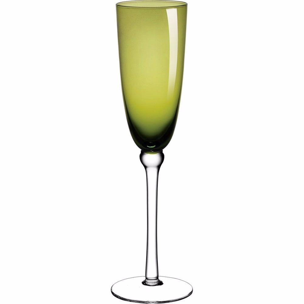 Jogo de Taças de Champagne Verde 230ml Cibele