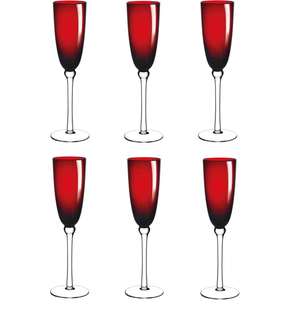 Jogo de Taças de Champagne Vermelha 230ml Cibele