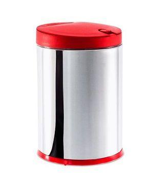 Lixeira de Inox 4L Com Tampa Plástica Vermelha