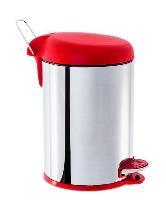Lixeira de Inox 5L com Pedal e Tampa Plástica Vermelha