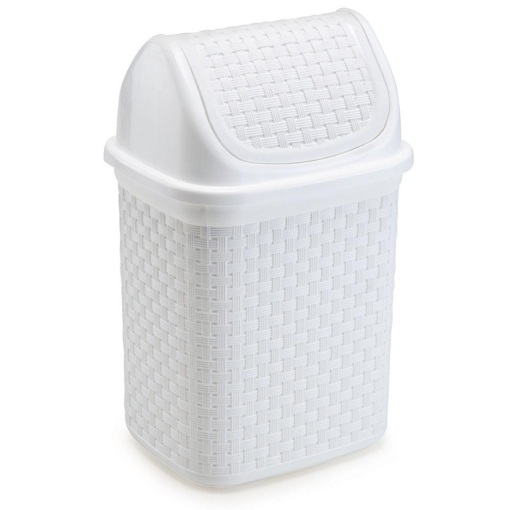 Lixeira de Pia Basculante Rattan 4,5L Branco
