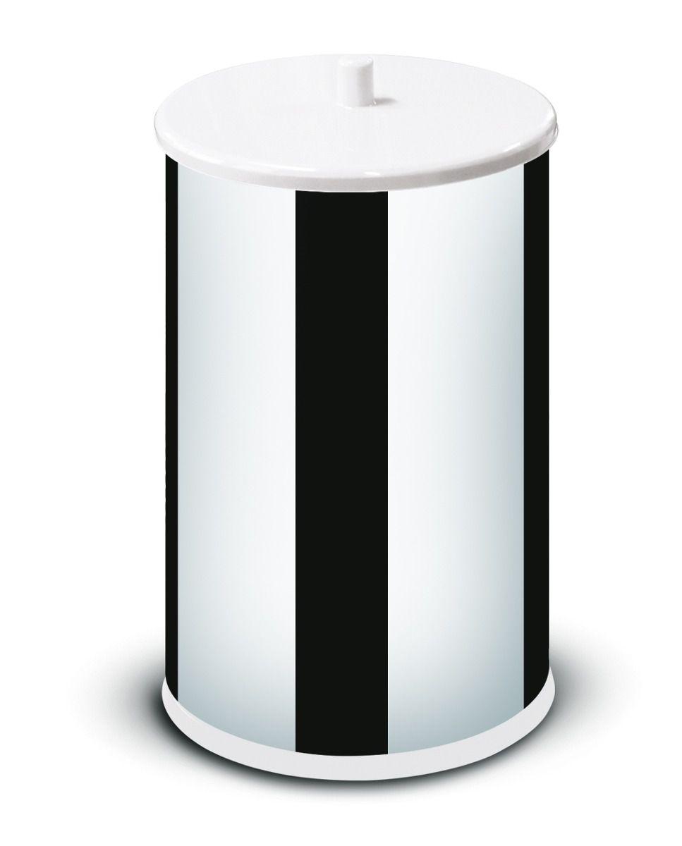 Lixeira Inox 6,3 L com Tampa e Fundo Branco