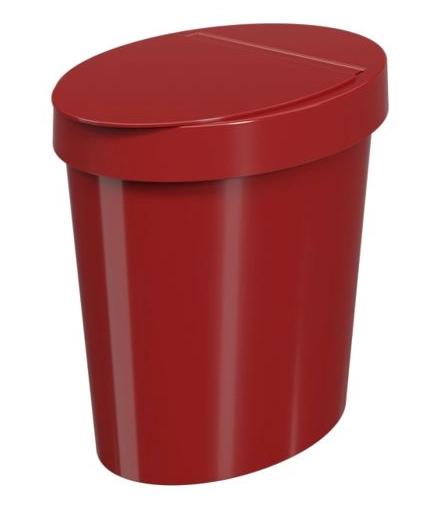 Lixeira Oval Glass 5L Vermelha