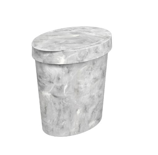 Lixeira para Pia Multi Glass 5L Mármore Branco