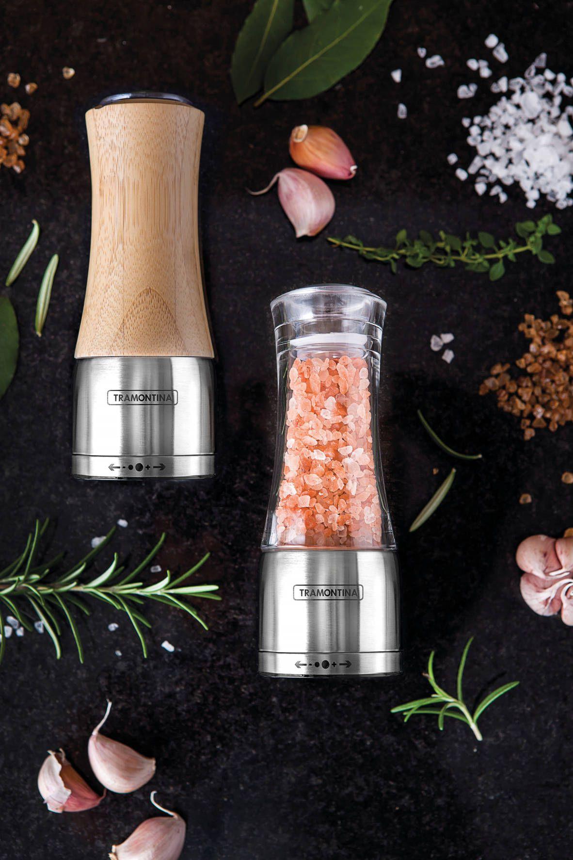 Moedor para Sal ou Pimenta Bambu e Inox Realce