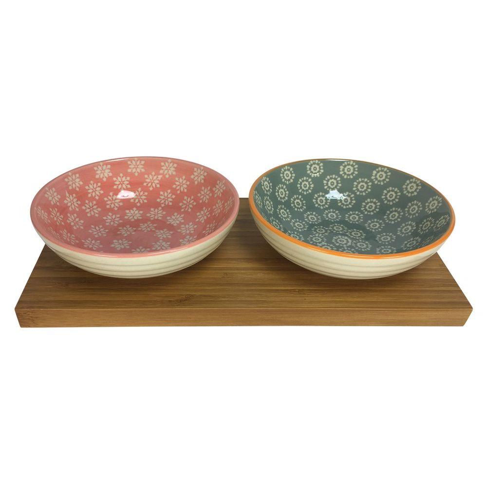 Petisqueira de Bambu com Bowls de Cerâmica