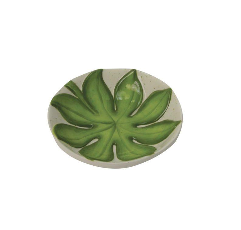 Petisqueira de Cerâmica Branca e Verde Folhagem