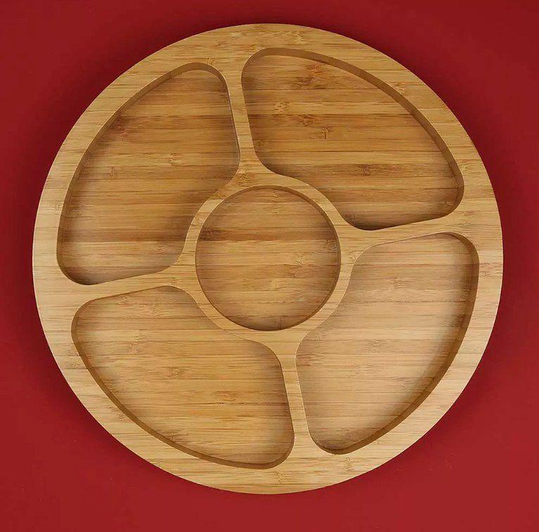 Petisqueira Gamela com 5 Divisórias Bamboo