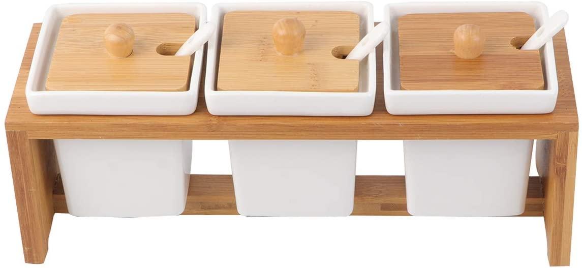 Porta Condimentos de bambu com Ceramica