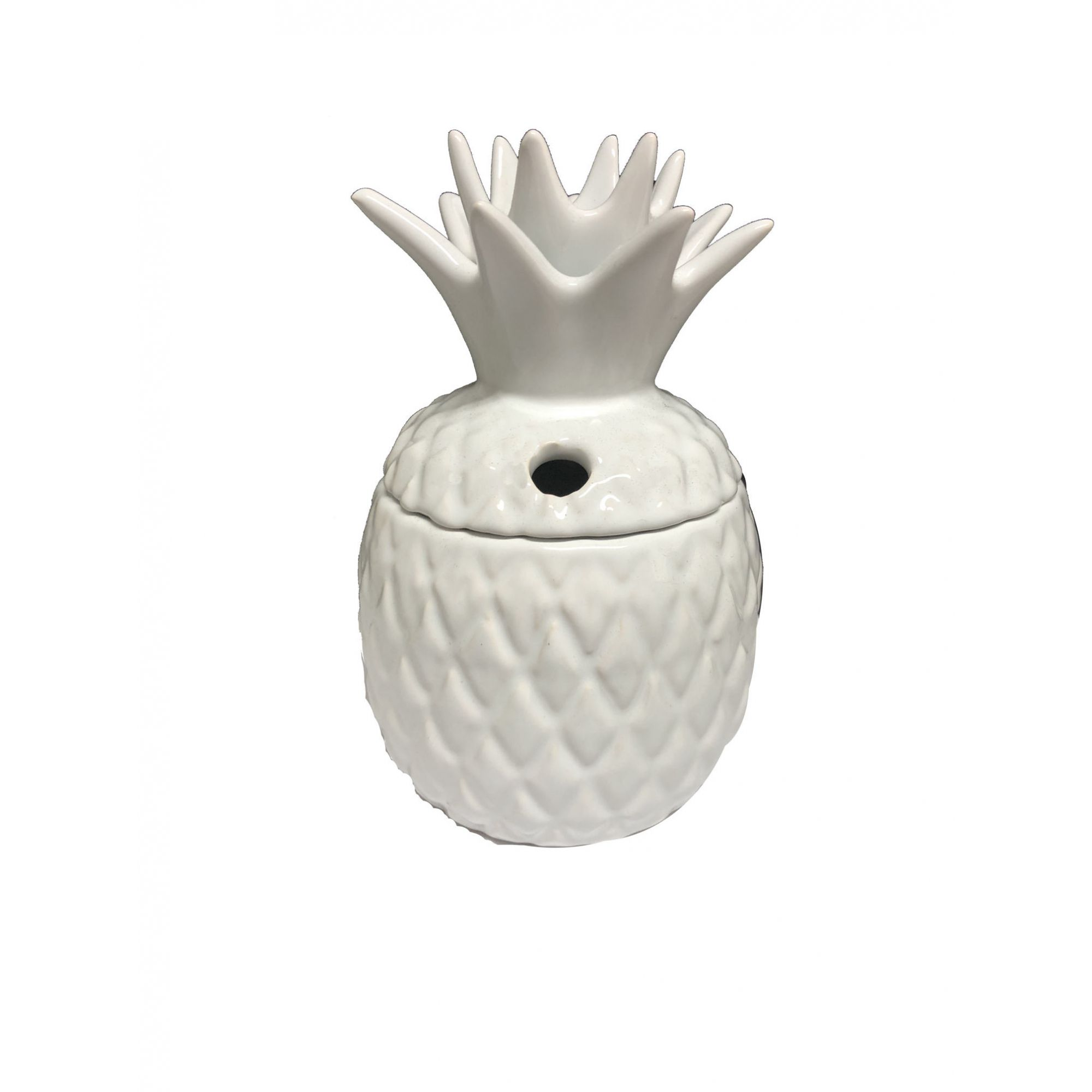 Porta Suco de Cerâmica 16cm Abacaxi Branco