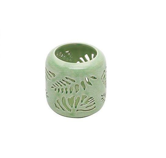 Porta Vela de Cerâmica Leaves Verde