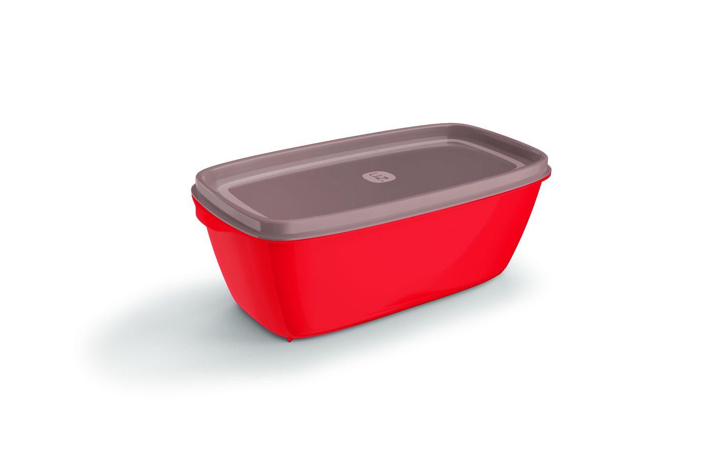 Pote Plástico Retangular 1,5 L Premium Vermelho