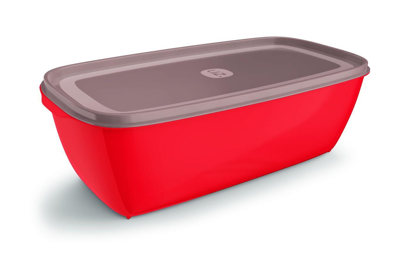 Pote Plástico Retangular 5,0 L Premium Vermelho