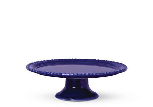 Prato Bolo com Pé Bolinha Azul Royal