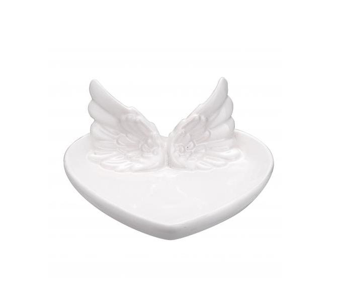 Prato Coração Branco com Asas Decorativo 17cm