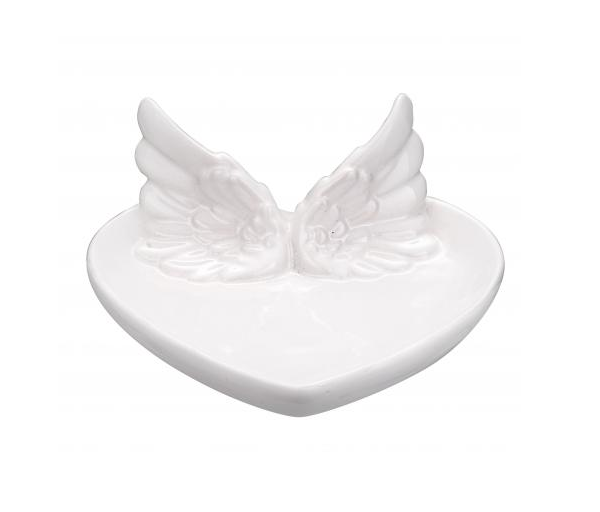 Prato Coração Branco com Asas Decorativo 14cm