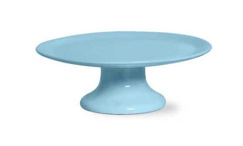 Prato de Bolo com Pé Colinha Azul Celeste