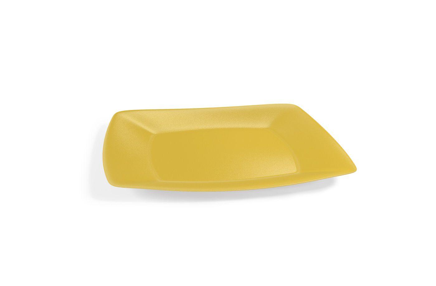 Prato Lanche Plástico Quadrado M 22,5 cm Amarelo