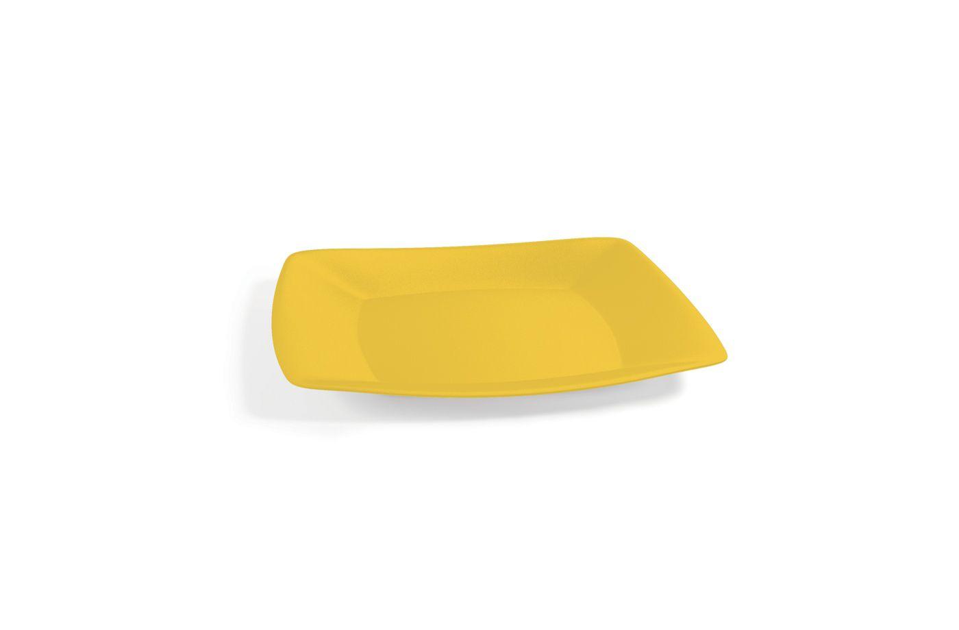 Prato Lanche Plástico Quadrado P 18,5 cm Amarelo
