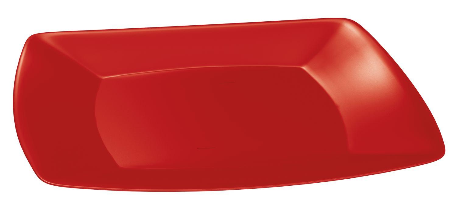 Prato Lanche Plástico Quadrado P 18,5 cm Vermelho
