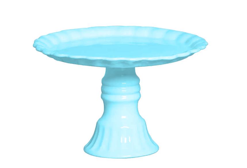 Prato Para Bolo com Pé Requinte 27x19cm Azul Bebe